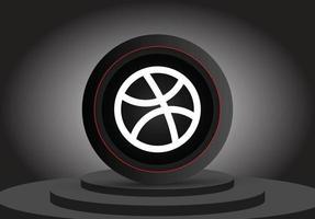 social media dribble 3d icon vector