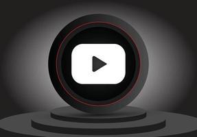 social media 3d youtube icon vector