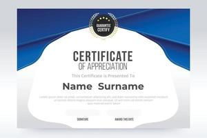 Gradient Certificate of appreciation Template. Blue and white gradient color design. vector