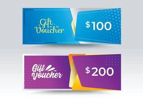 Business Gift Voucher template. Blue and Purple color style. vector