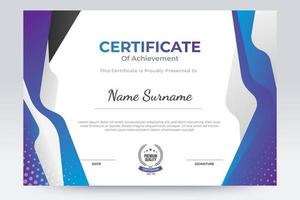 Purple certificate of achievement template. Flat certificate template design with trend color. vector