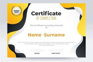 Gradient Certificate of completion template. Yellow and black color tone. vector