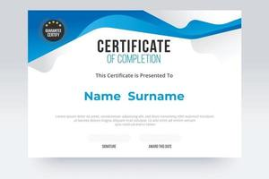 Gradient Certificate of completion Template. Blue and white color tone. vector