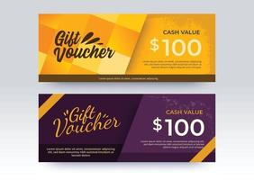 Business Gift Voucher template. Yellow and Purple color style. vector
