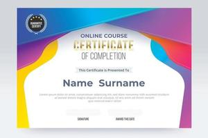 Online course Certificate of completion template. vector illustration eps10.