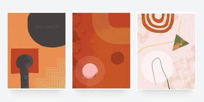 Trendy abstract organic cover shape. Teracotta color tone use for banner, brochure, card, invitation, print, flyer or presentation vector