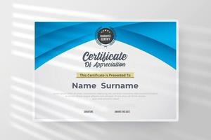 Certificate of appreciation template with blue and white color. vector