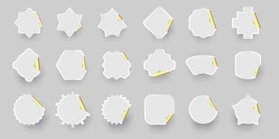 Gold white sticker shape collection. vector