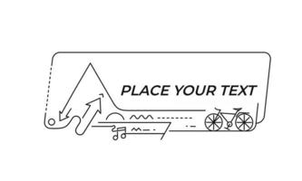 Flat linear bicycle for promotion ribbon banner scroll sticker badge price tag poster vector