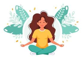 Woman meditating. Healthy lifestyle, relax, yoga, wellbeing vector