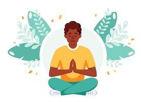 African american man meditating in lotus pose. International day of yoga vector