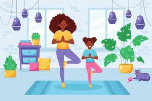 Black woman doing yoga with daughter in cozy interior. Family spending time together vector