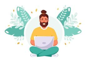 Man working on laptop. Freelance, remote working, online studying, work from home concept vector