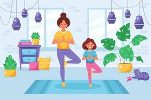 Woman doing yoga with daughter in cozy interior. Family spending time together vector