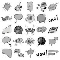 Comic book speech bubbles and cartoon sound effects set. Hand drawn pop art style signs vector illustration.