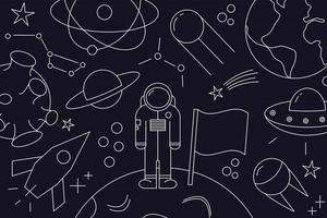 Modern pattern of planet, star, comet, with different rockets. Universe line drawings. Cosmos. Trendy space signs, constellation, moon. Outline, doodle style, icon, sketch. on dark background. vector