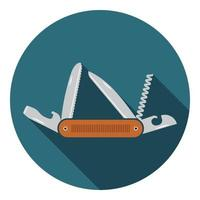 Multifunctional pocket knife icon. Hiking and camping equipment tool, vector illustration isolated on white