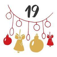 calendario de adviento de navidad. números y elementos dibujados a mano. Diseño de tarjeta de calendario de vacaciones de invierno, ilustración vectorial vector