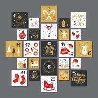 calendario de adviento de navidad. números y elementos dibujados a mano. Diseño de conjunto de tarjetas de calendario de vacaciones de invierno, ilustración vectorial vector