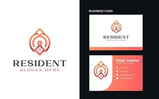 Roof House with Pin Point Monogram Logo Template. Vector Illustration