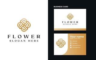 Letter D Golden Flower Monogram Logo Template. Vector Illustration