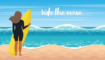 Woman in surf suit ride the waves. Sport activity with surfboards in sea or ocean. Flat cartoon vector illustration.