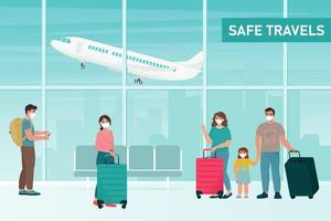 People in protection masks at the airport. Safe travel concept, during coronavirus pandemic. Vector illustration in flat style