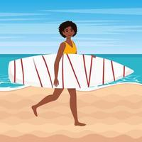 Afro american woman in a yellow swimsuit goes with surfboard on beach. Vector illustration in flat style