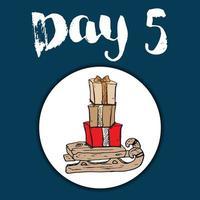 Christmas advent calendar. Hand drawn elements and numbers. Winter holidays calendar card design, Vector illustration