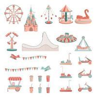 Cartoon amusement park rides icon set. vector