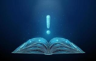 Abstract low poly open book with exclamation mark. vector