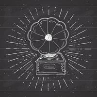 Gramophone vintage label, Hand drawn sketch, grunge textured retro badge, typography design t-shirt print, vector illustration