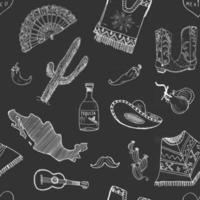 elementos de doodle de patrones sin fisuras de méxico, boceto dibujado a mano silueta sombrero sombrero tradicional mexicano, bota, poncho, cactus y botella de tequila, chiles, guitarra. fondo de ilustración vectorial vector