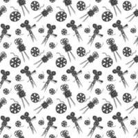 carrete de cámara y película vintage de patrones sin fisuras, boceto dibujado a mano, industria del cine retro, ilustración vectorial vector