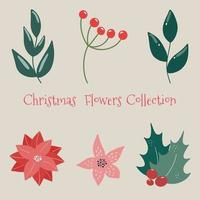 Christmas floral collection with winter decorative plants and flowers Cute hand drawn in Scandinavian style Illustration of winter berries and branches of a Christmas tree vector