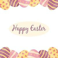 Easter card Easter eggs on a white background cartoon style Vector illustration Design for banner poster postcard packaging