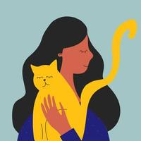 Happy woman hugging a cat. Pet care, cat, love flat vector illustration. Pets, breed, friendship concept for banner, website design or landing web page.