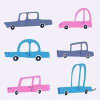 Cute baby cars collection with texture. Colorful cartoon car transporter on a white background. Baby car wallpaper, hand drawn flat textile design. vector