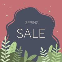 Spring sale typography. Vector illustration. Spring sale lettering with green leaves for greeting card, invitation template, banner, poster, background and spring sale tag label.