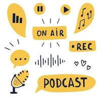Podcast concept with handwritten lettering and decoration. Text and podcasts symbols isolated on white background. Vector color illustration.