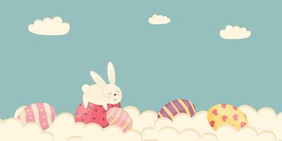 Easter poster and banner template with Easter eggs in the clouds on a pastel background vector