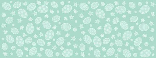 Cute hand drawn easter horizontal pattern with flowers butterflies easter eggs beautiful background great for easter cards banner wallpaper vector design
