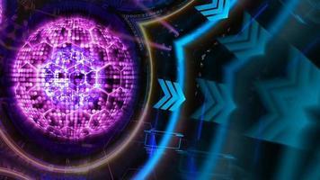 Reflexión núcleo milllion luz puntual y alambre hexagonal tecnología informática futurista cuántica rotar con plantilla de matriz digital y láser video