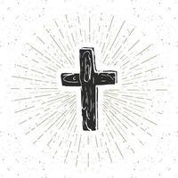 etiqueta vintage, cruz cristiana dibujada a mano, signo religioso, símbolo de crucifijo insignia retro con textura grunge, impresión de camiseta de diseño de tipografía, ilustración vectorial. vector