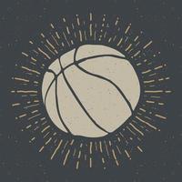 etiqueta vintage, boceto de pelota de baloncesto dibujado a mano, insignia retro con textura grunge, impresión de camiseta de diseño de tipografía, ilustración vectorial vector