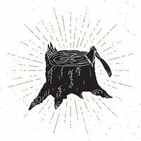 etiqueta vintage de tocón de árbol, boceto dibujado a mano, insignia retro con textura grunge, impresión de camiseta de diseño de tipografía, ilustración vectorial vector