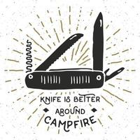 Vintage label, Hand drawn Multifunctional pocket knife, grunge textured hiking and camping equipment tool, retro badge or T-shirt typography design with sunrays, vector illustration.