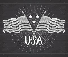 Vintage label, Hand drawn crossed USA flags, Happy Independence Day, fourth of july celebration, greeting card, grunge textured retro badge, typography design vector illustration
