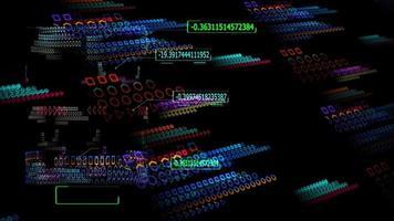 tecnologia futurista de computador quântico processo holográfico digital e análise de big data e texto explicativo seta fronteira numérico voando fundo abstrato polígono video