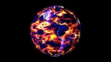 earthmap fireearthmap vuur en vlammen scheuren aan de oppervlakte, concept klimaatverandering vernietigt alles op aarde video